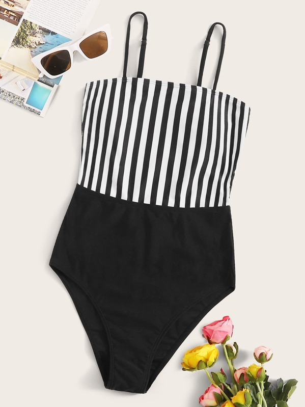 Striped One Piece Swimwear, Black and white