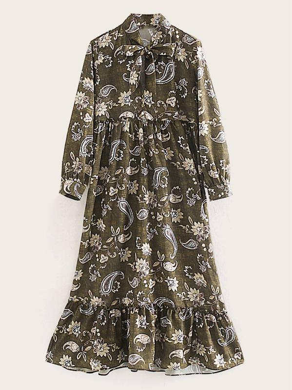 Paisley Print Tie Neck Ruffle Hem Dress, Multicolor