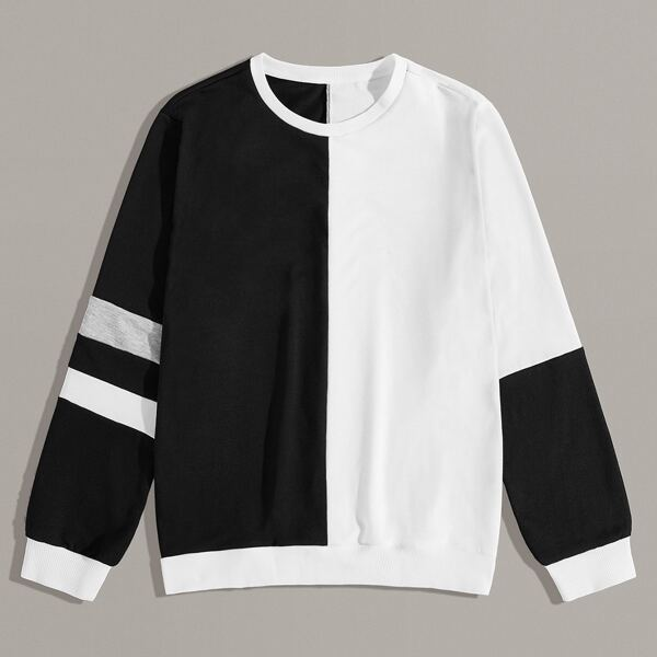 Men Two Tone Varsity Striped Sweatshirt, Black and white