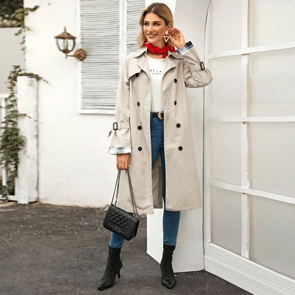 Double Breasted Pocket Side Belted Trench Coat, Beige
