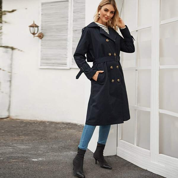 Double Breasted Pocket Side Belted Trench Coat, Navy
