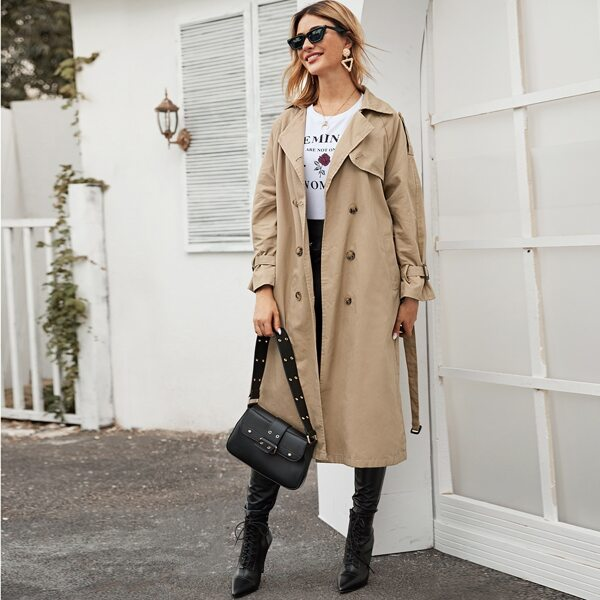 Double Breasted Pocket Side Belted Trench Coat, Khaki