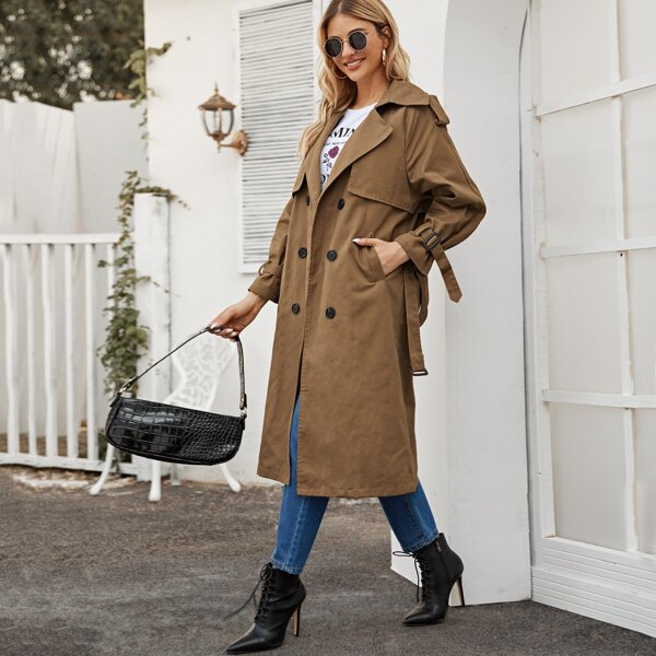 Double Breasted Pocket Side Belted Trench Coat, Brown