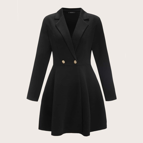 Lapel Collar Double Button Front Flare Hem Coat, Black