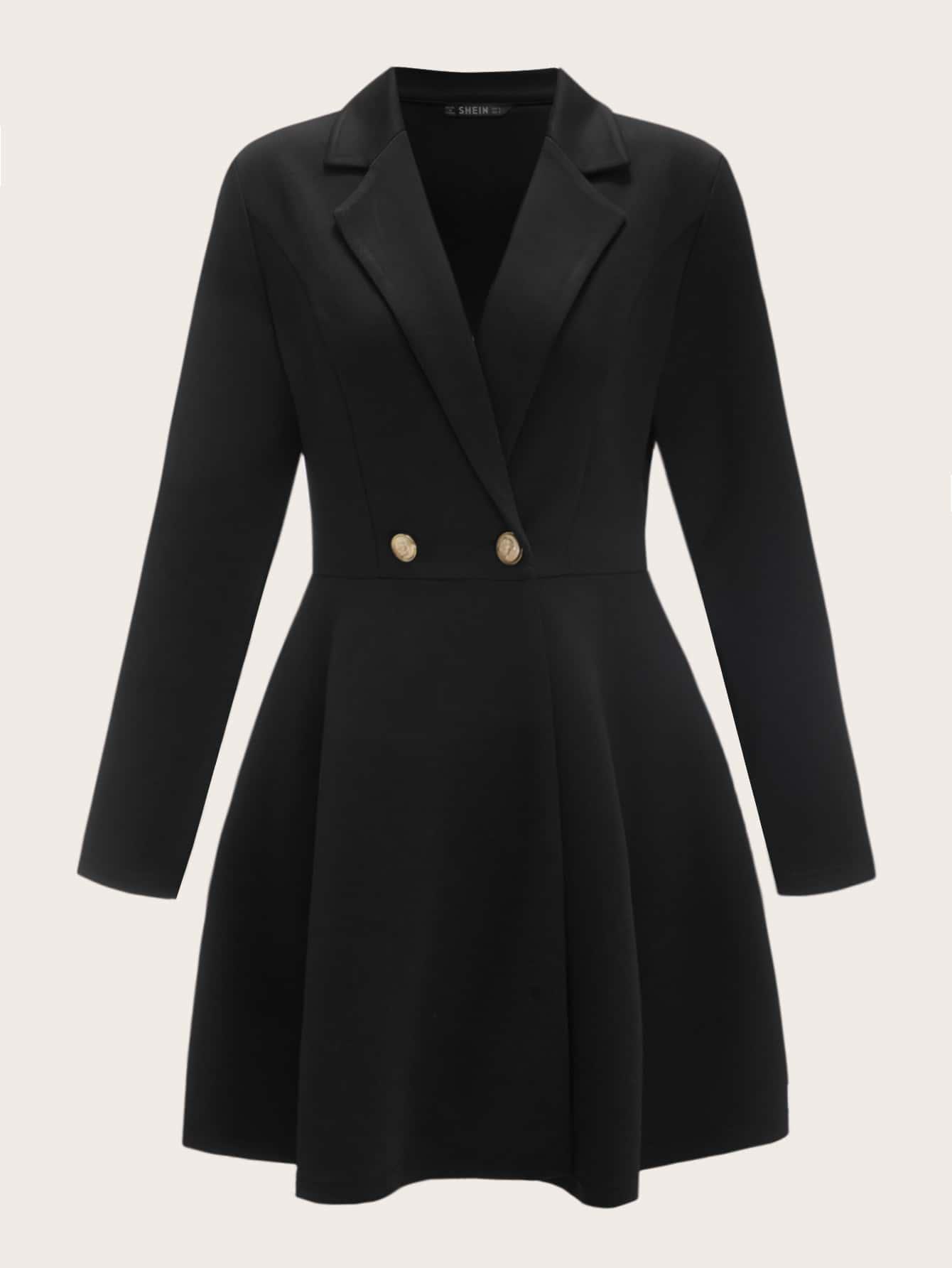 Пальто с пуговицами и расклешенным краем