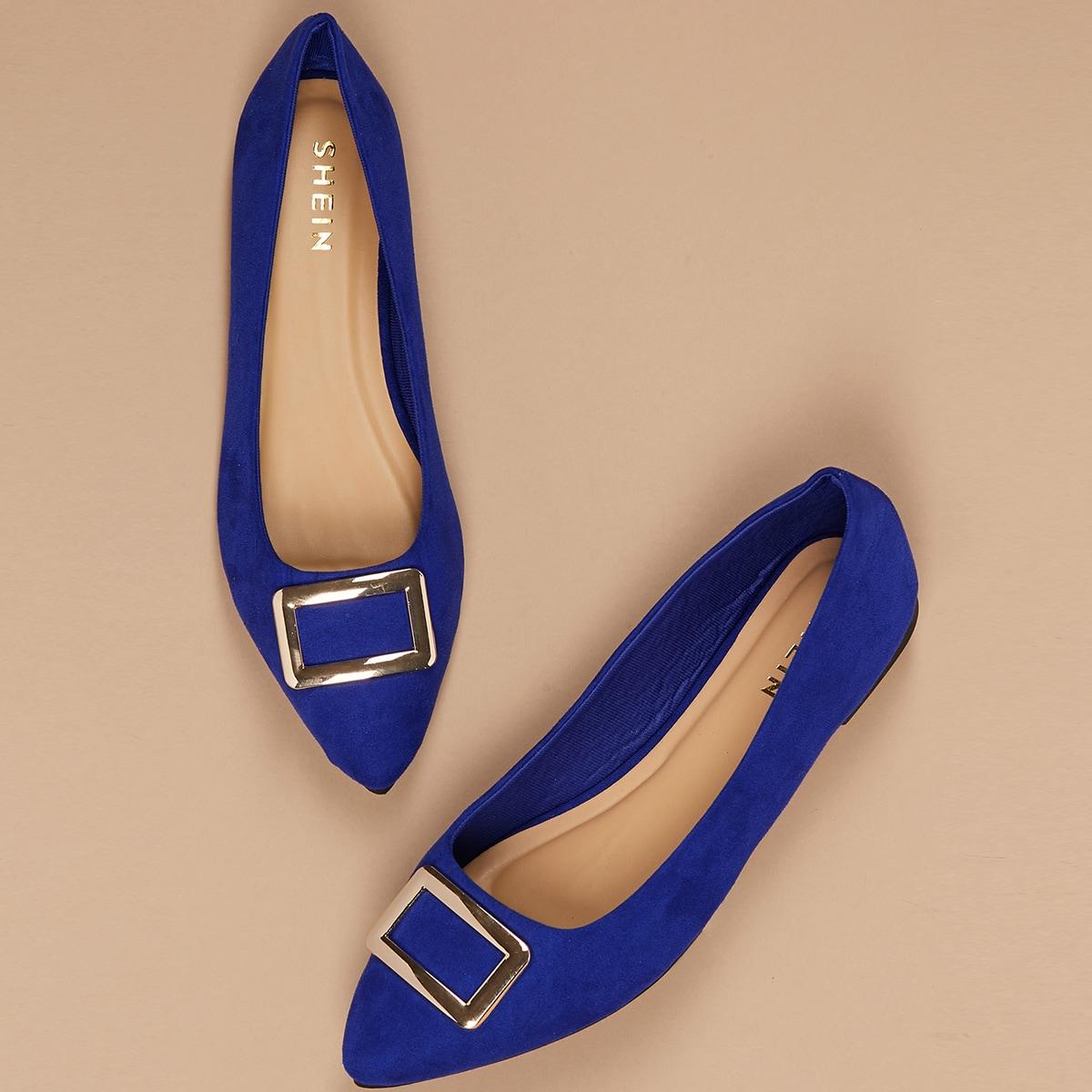 Blauw Comfortabel Vlak Ballerina's