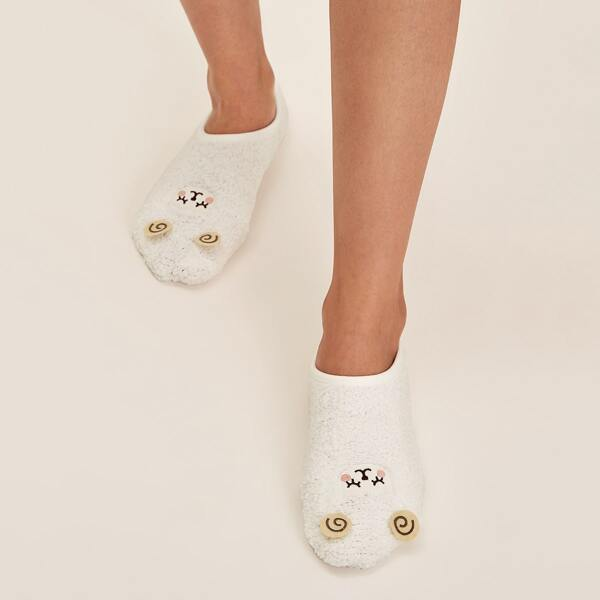 1pair Cartoon Graphic Floor Socks, White