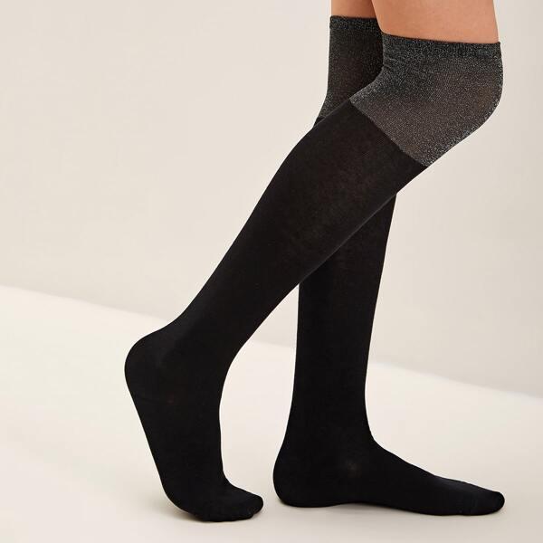 1pair Two Tone Knee Length Socks, Black