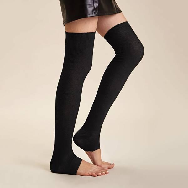 1pair Thigh Long Open Toe Socks, Black