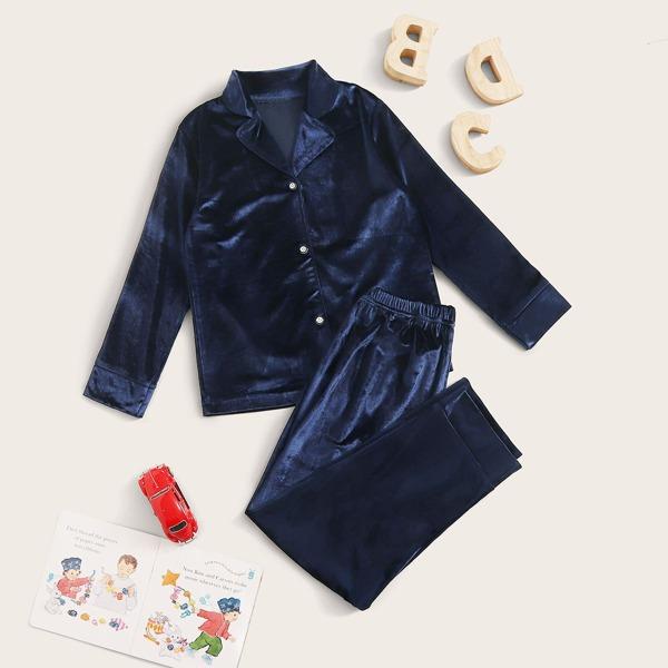Boys Button-up Velvet PJ Set, Multicolor