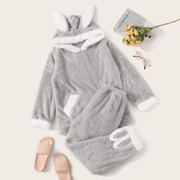 Rabbit Shaped Contrast Side Plush Hooded PJ Set, Grey