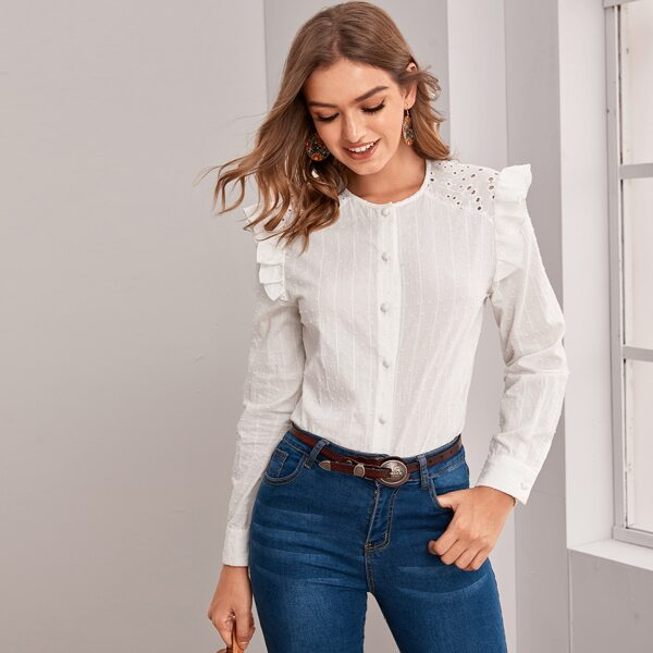 Ruffle Trim Eyelet Embroidery Shoulder Swiss Dot Blouse, White