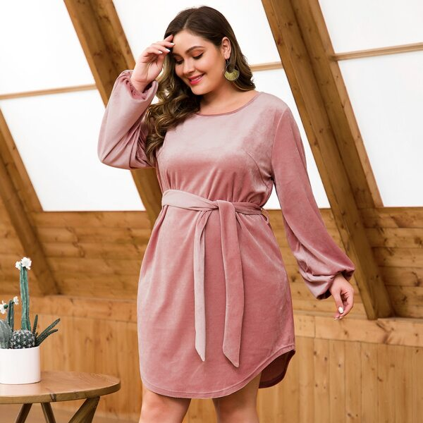 Plus Self Tie Curved Hem Velvet Tee Dress, Pink