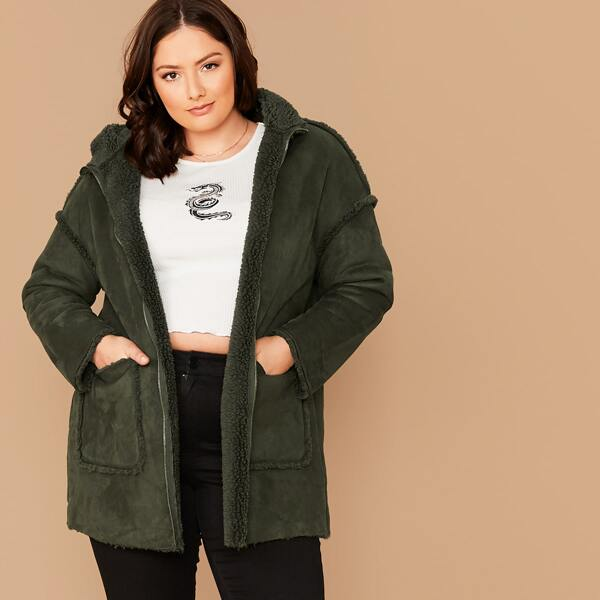 Plus Patch Pocket Zipper Up Faux Shearling Hoodie Coat, Army green