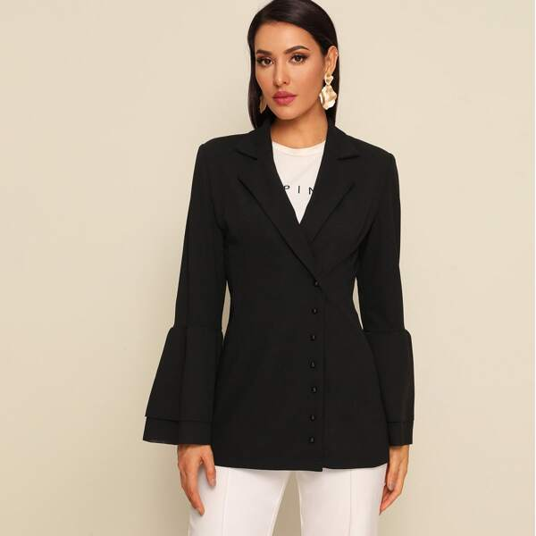 Notched Collar Press Buttoned Layered Sleeve Blazer, Black