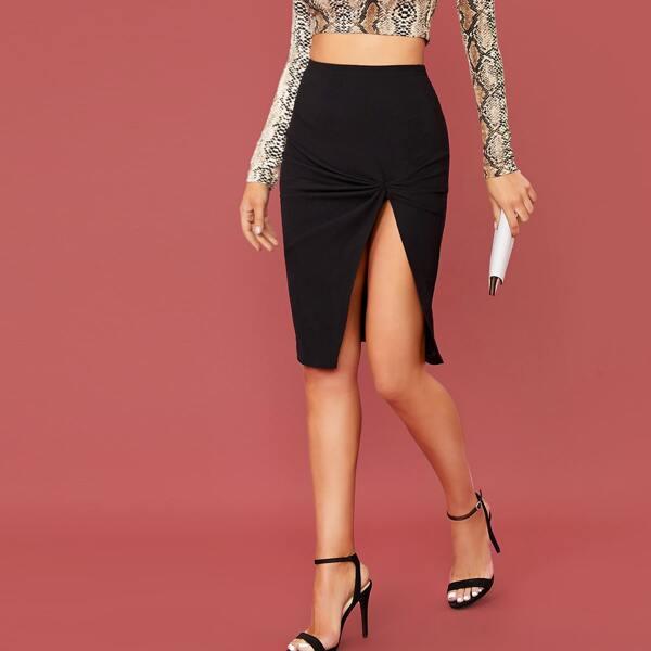 Gathered Detail Split Thigh Skirt, Black