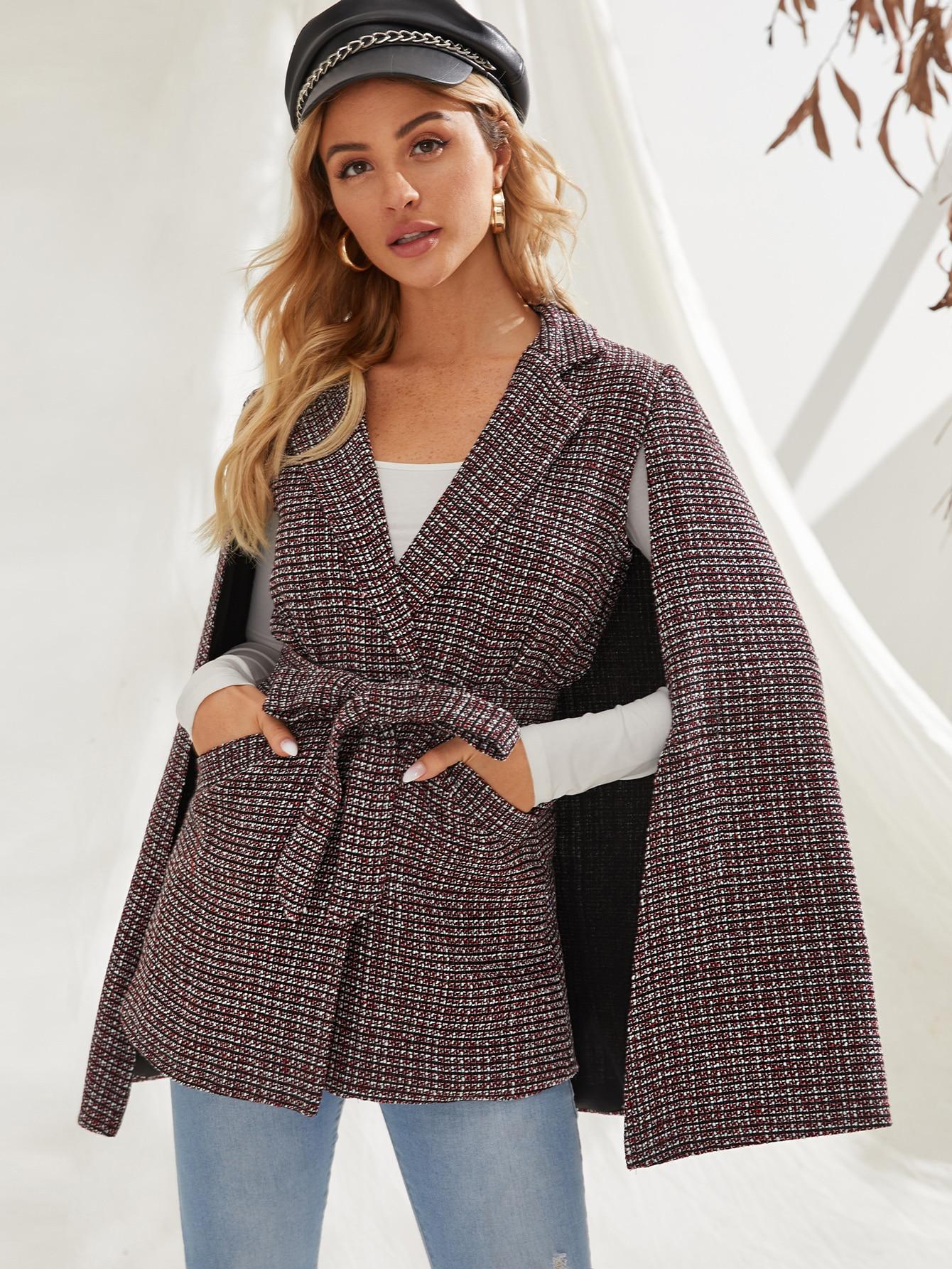 Твидовое пальто-кейп с карманом и поясом