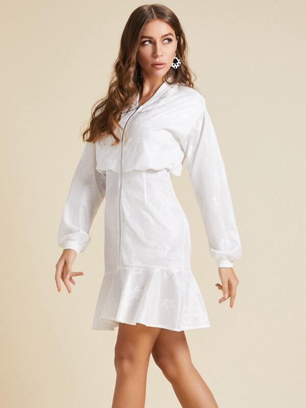SBetro Ruffle Hem Zip Up Blouson Dress, White, Hanna