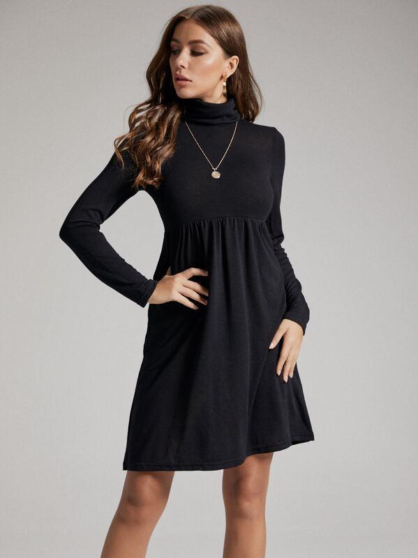 SBetro Solid Funnel Neck A-line Dress, Black, Hanna