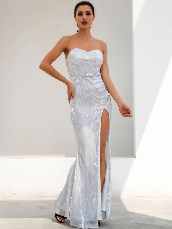 LOVE&LEMONADE Split Thigh Sequin Tube Prom Dress, Grey, ZulcarD