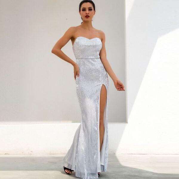 LOVE&LEMONADE Split Thigh Sequin Tube Prom Dress, Grey