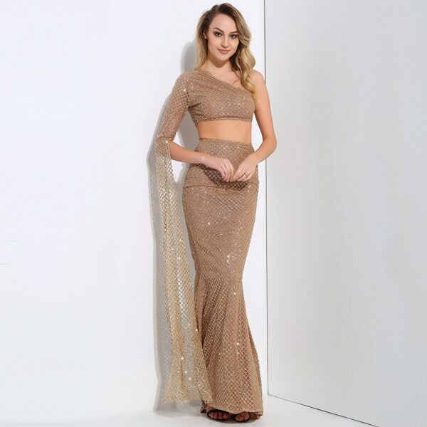 LOVE&LEMONADE One Shoulder Crop Glitter Top And Fishtail Skirt Set, Nude
