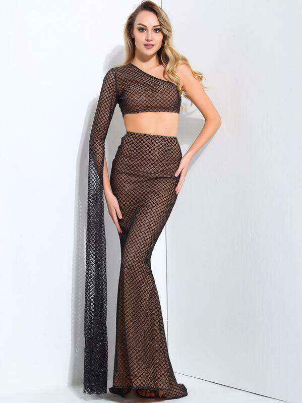 LOVE&LEMONADE One Shoulder Crop Glitter Top And Fishtail Skirt Set, Brown, Sasa