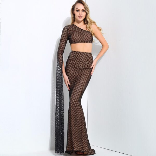 LOVE&LEMONADE One Shoulder Crop Glitter Top And Fishtail Skirt Set, Brown