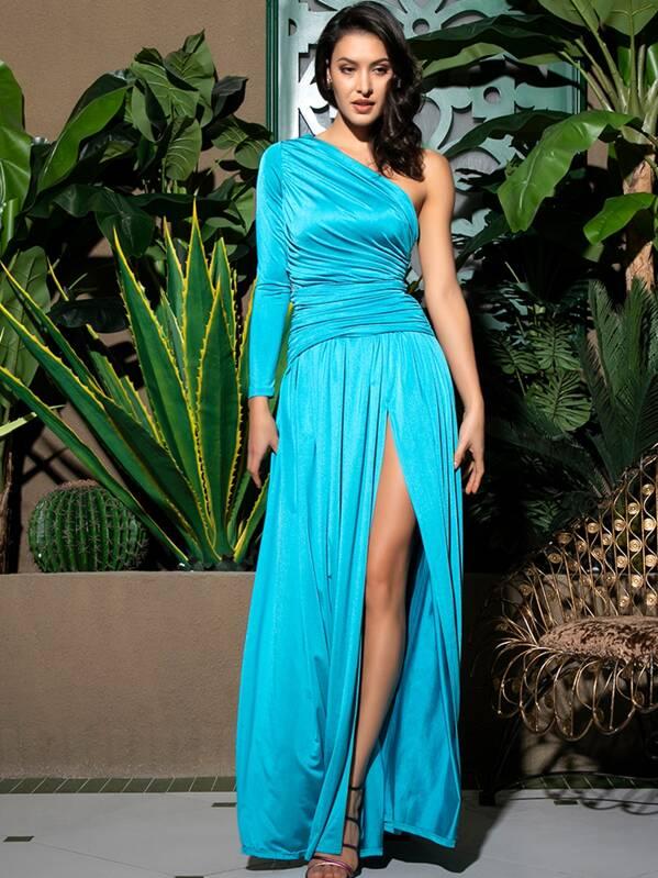 LOVE&LEMONADE Neon Blue One Shoulder Split Thigh Prom Dress, ZulcarD