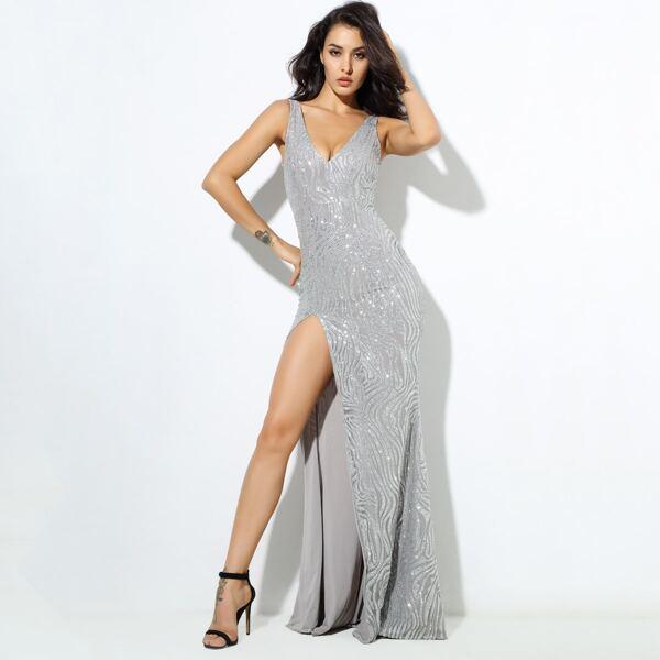 LOVE&LEMONADE Zip Back Split Thigh Glitter Prom Dress, Grey