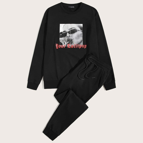 Men Figure and Slogan Graphic Pullover & Sweatpants Set, Black