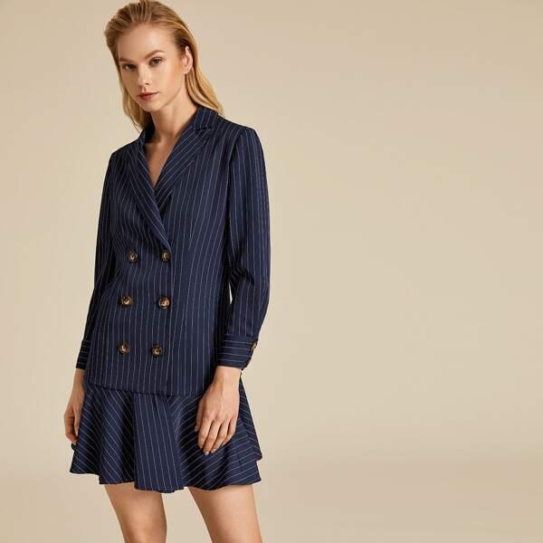 Premium Double Breasted Ruffle Hem Striped Blazer Dress, Navy