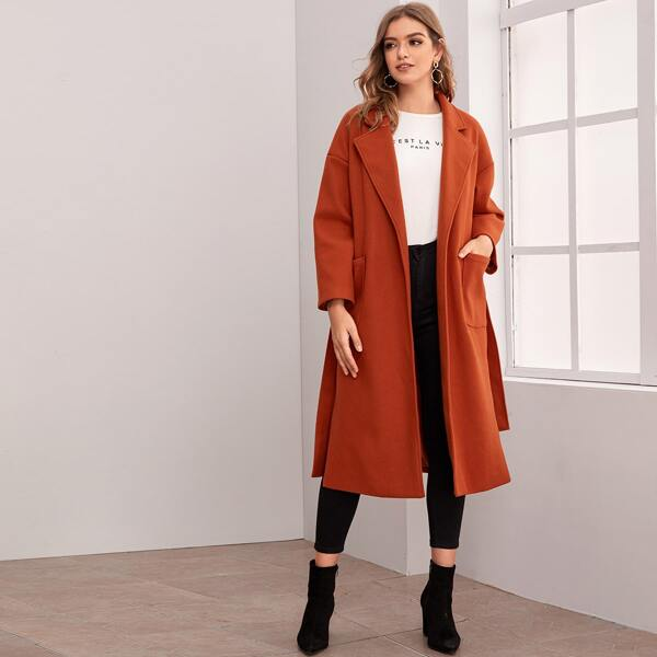 Slit Hem Pocket Patched Belted Overcoat, Orange bright
