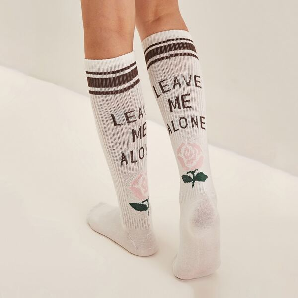 1pair Flower & Slogan Graphic Knee Length Socks, Multicolor