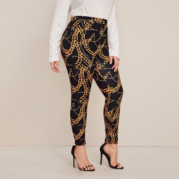 Plus Chain Print Leggings, Multicolor
