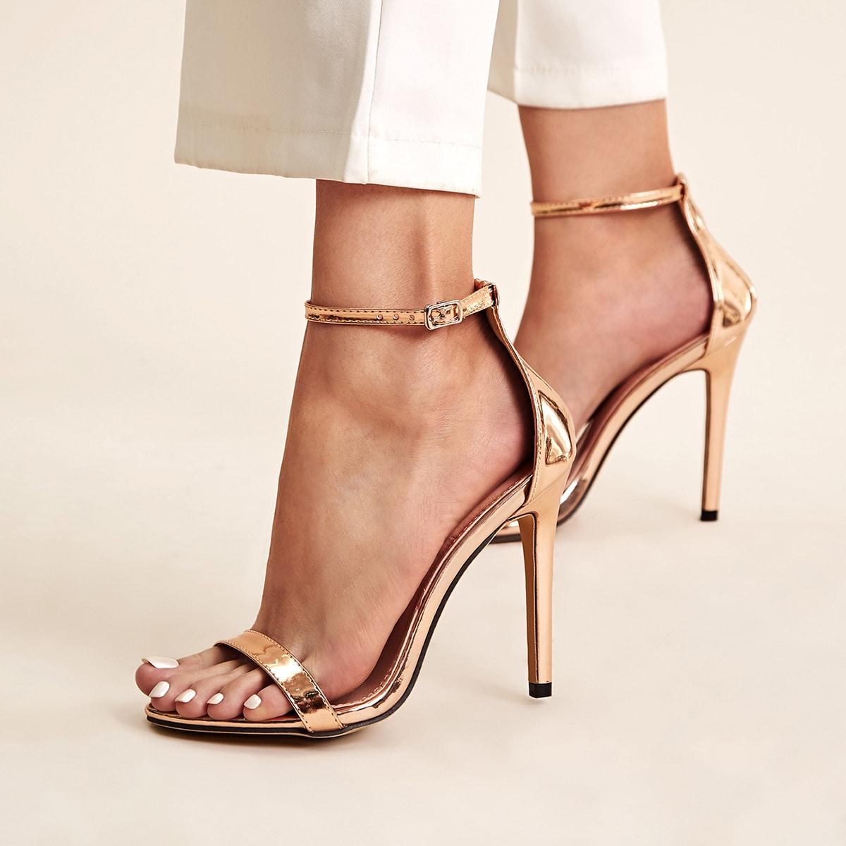 Туфли на шпильках с ремешком металлического цвета от SHEIN