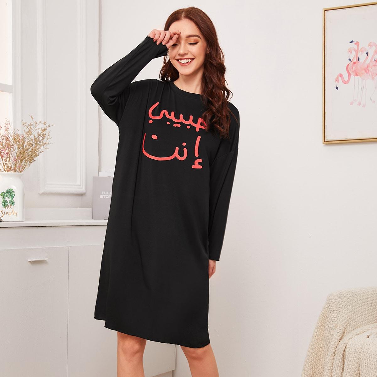 Nachthemd met lange mouwen en grafische print
