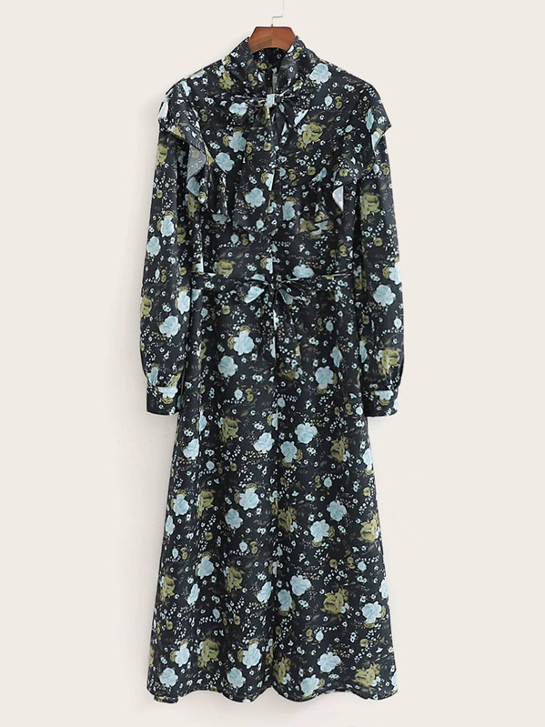 Floral Print Tie Neck Ruffle Trim Belted Dress, Multicolor