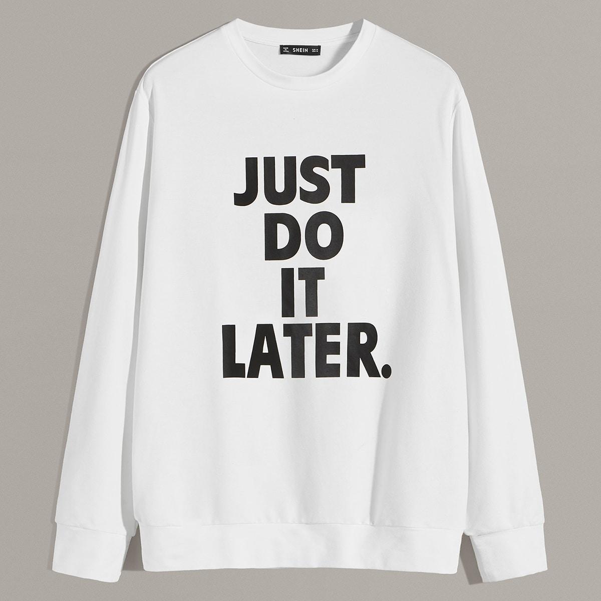SHEIN / Männer Slogan Graphic Pullover