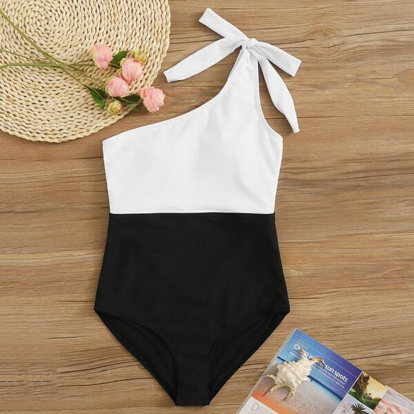 Two Tone Tie Shoulder One Piece Swimwear, Black and white