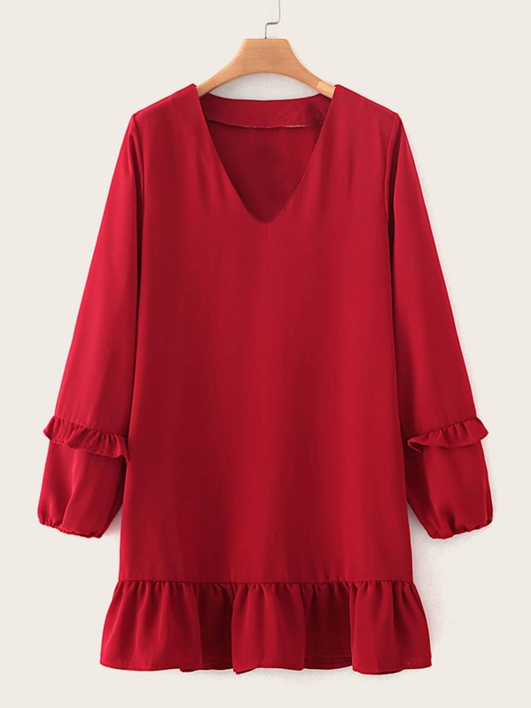Solid Ruffle Trim V-Neck Babydoll Dress, Red