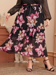 Chiffon | Floral | Large | Skirt | Belt | Plus