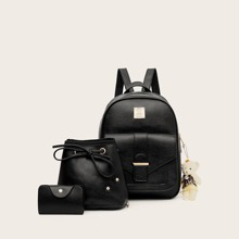 3pcs Pocket Front Backpack With Purse (swbag03191111927) photo