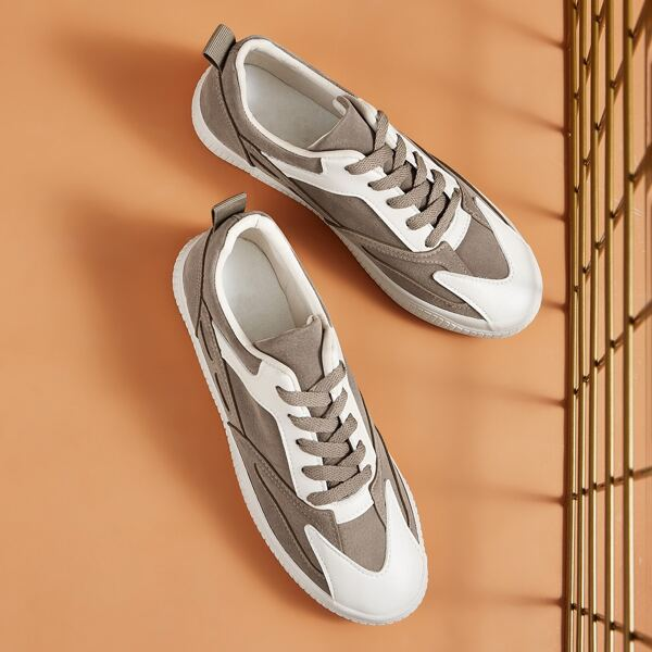 Two Tone Lace-up Front Sneakers, Brown