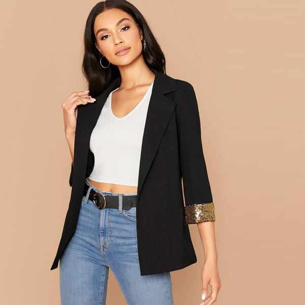 Notched Collar Contrast Sequin Cuff Blazer, Black