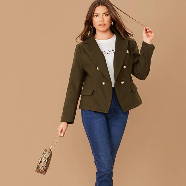 Plus Notched Collar Double Breasted Blazer, Army green