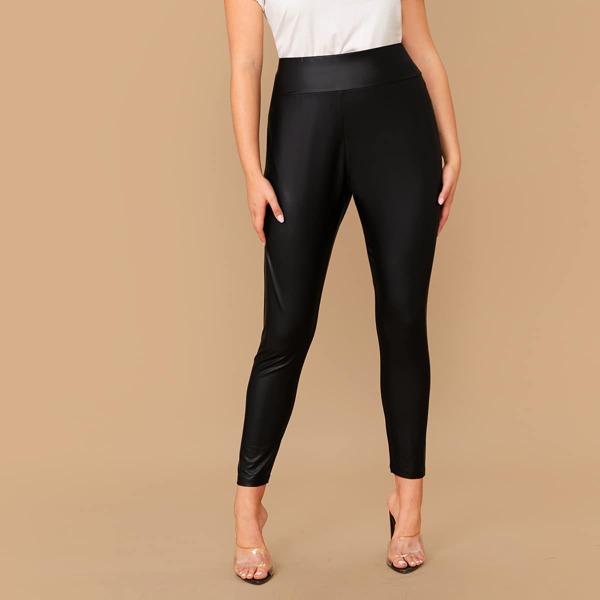 Plus Elastic Waist Leather Look Leggings, Black