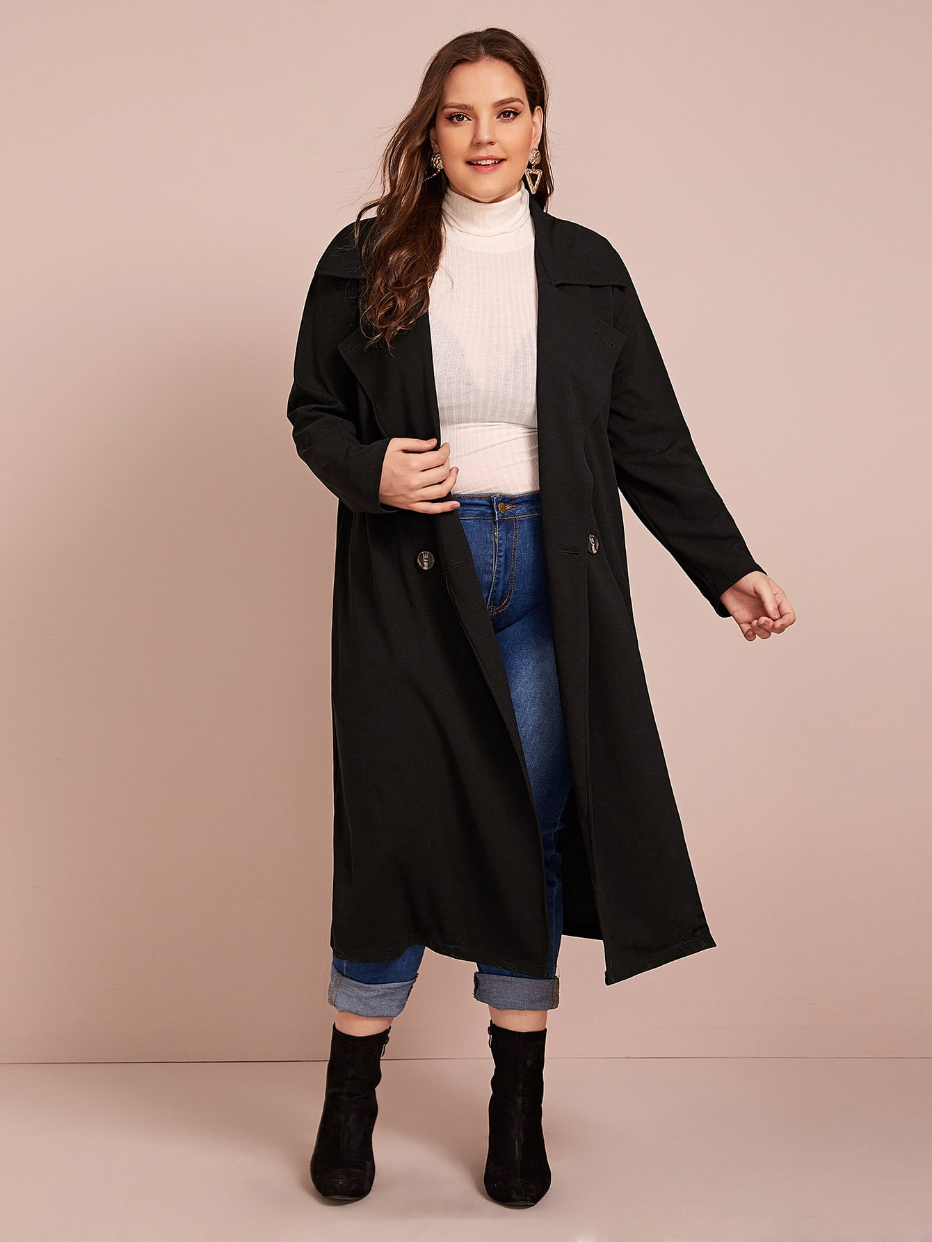Plus Col Cranté Double Breasted Trench Coat