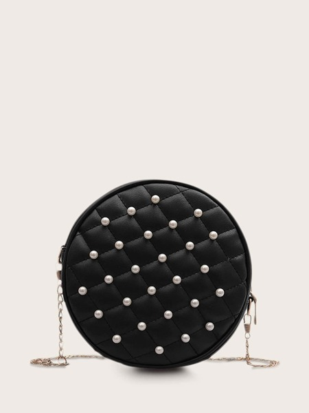 Faux Pearl Decor Quilted Chain Bag
