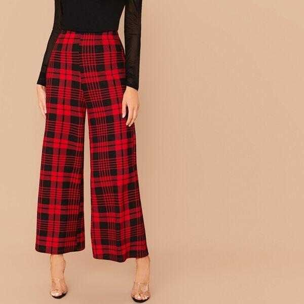 Wide Leg Plaid Pants, Red